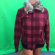 COLUMBIA XCO women's fashion red faux fur wool coat jacket size--M
