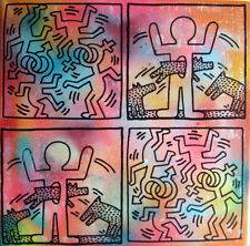 dog coupling haring TABLEAU pop street art graffiti PyB french painting canvas