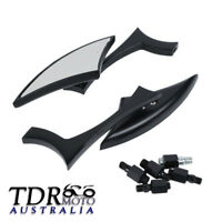 Black Custom Side Rear View Mirrors for Motorcycle Scooter Chopper Cruiser Bikes