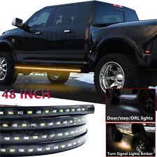"""48"""" Car Truck Led Side Step Light Running Board Strip Amber / White For Dodge"""