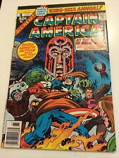 Captain America 4 Annual (1977) Fine Minus (5.5) Magneto app Story + Jack Kirby!
