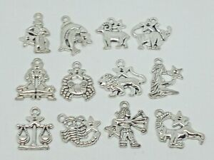 Silver Star Sign horoscope Charms Necklace Bracelet Jewellery Making
