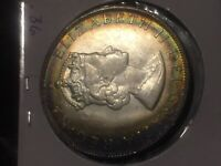 1964 BERMUDA 1 ONE CROWN SILVER UNC COLOR BU TONED MONSTER