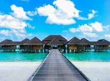 "Poster size printed on Glass of The Maldives ""over water hut"" 22 by 29 inches"