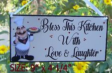 SIGN FAT CHEF BLESS THIS KITCHEN WITH LOVE AND LAUGHTER PLAQUE WALL HANGER DECOR