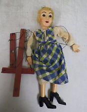 "VINTAGE HAZELLE BLONDE GIRL MARIONETTE STRING PUPPET BLUE GREEN DRESS 14"" EUC"