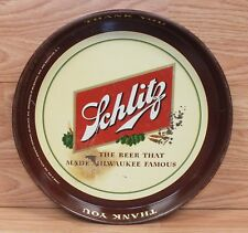 "Genuine Vintage Schlitz ""Beer that Made Milwaukee Famous"" Tin Serving Tray Only"