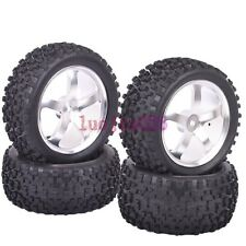 RC 1/10 Off-Road Car Buggy Metal Front &Rear Wheel Rim Tyre Tires Silver  M05S8
