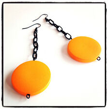 Handmade Long Lightweight Chain Earrings Orange 30mm Flat Wood Beads Black Metal
