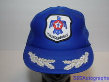 Vtg 1980s UNITED STATES AIR FORCE THUNDERBIRDS LOGO Snapback Hat Cap SILVER LEAF