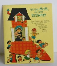 VINTAGE~ AMERICAN GREETING CARD MOM BIRTHDAY LIVED IN A SHOE TURNS TO POSTER!