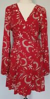 NWT MINKPINK Size XS Casual Red Floral Boho Long Sleeve Self-Tie Wrap Dress