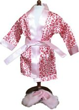 Pink Satin Leopard Print Robe and Slippers Fits 18 inch American Girl Dolls