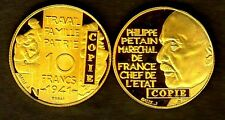 ★★★ COPIE DE L'ESSAI DE GALLE EN PLAQUé OR DE LA 10 FRANCS 1941 PETAIN ★★