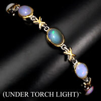 Unhearted Oval Fire Opal Rainbow 9x7mm 925 Sterling Silver Bracelet 7.5 Inches