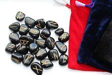 Natural Rune Stones Sets - Velvet Bag 25 Stones Gold Markings Divination - Reiki