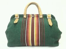 Handmade BoHo Hippie PURSE SATCHEL TOTE HANDBAG Travel Green Striped w/ Leather