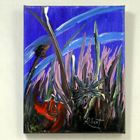 "In The Pink Grass Painting Hand Painted Surrealism signed ""Robert"" COA"