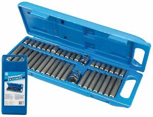 "Silverline Hex Torx Star Spline Bit Socket Set 3/8"" & 1/2"" Long & Short Keys"