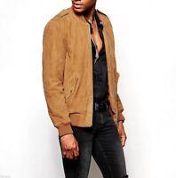 Men's Brown Suede Leather Jacket WESTERN Style Vintage Bomber Biker Basebal Coat