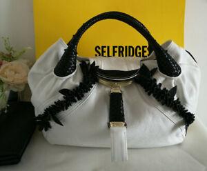Fendi Limited Edition Wisteria Spy Bag White and Black Nappa Leather RRP £2,550