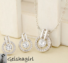 Wedding Prom Silver Plated Clear Round CZ Gem Earrings Pendant Necklace Set UK