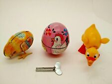 Haji Chetney Japan Germany Windup Bobblehead Chic Duck Tin Video Vintage Easter