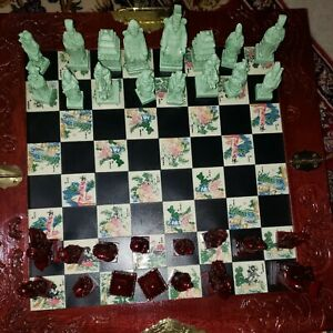 Vintage Chinese Green & Brown Tile Chess Board Set