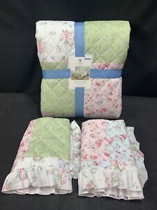 Simply Shabby Chic Queen Full Set Floral 3 Pc Ruffle Edge Polyester Roses NWT