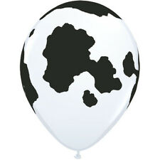 "**QUALATEX**  Pack of 12 - 11"" Round Holstein Cow Latex Balloons!"