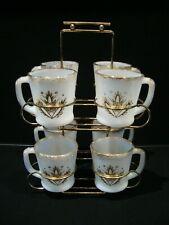 Rare Set of 8 Fire King OVEN WARE Gold Fleur De Lis Mugs in Mint Condition Rack
