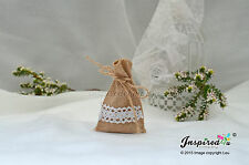 10 x Mini Hessian Burlap Favor Bags 6 x 9 cm Wedding Rustic White Lace Twine