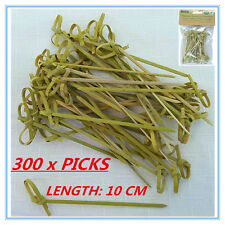 300 x BAMBOO CATERING DISPOSABLE CURLY STYLE PICKS COCKTAIL FINGER FOOD BBQ AP