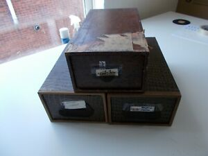 3 x vintage index card drawers / files / cabinets. See pics below.