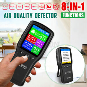 8 In1 PM2.5 PM10 Air Quality Monitor Formaldehyde HCHO TVOC LCD Digital Detector