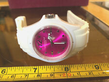 Identity London White Watch New Wristwatch Rubber Strap Pink Dial