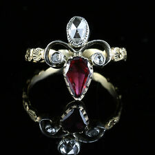 ANTIQUE GEORGIAN GARNET DIAMOND RING 18CT GOLD FLEUR DE LIS FLEUR DE LYS