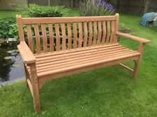 5ft.1.5m MEMORIAL TOP QUALITY TEAK HARDWOOD WAVE BACK PATIO GARDEN BENCH
