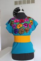 Mexican Embroidered Blouse Peasant Floral blue Shirt Size M