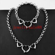 Women Silver Stainless Steel 316L Heart Pendant Bracelet Necklace Chain Set Gift