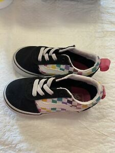 Vans Off The Wall Toddler Girls Black/Multicolored Checkerboard Shoes~size 7 C