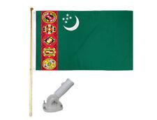 New listing 5' Wood Flag Pole Kit Nylon White Bracket 3x5 Turkmenistan Old Country Poly Flag