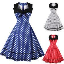 AU Plus Size Women Polka Dot 1950s Rockabilly Prom Party Swing Dress Vintage NEW