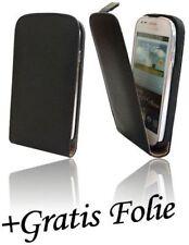Zubehör für Samsung Galaxy S3 Mini  Klapptasche Tasche + Folie // Schwarz -1022