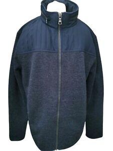 Blue Harbour M&S Jacket mens XL Blue Quilted Zipper Concealed Hood coat