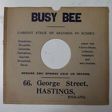 "10"" 78rpm gramophone record sleeve BUSY BEE george st hastings"