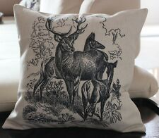 45cm Vintage Deer Cotton Linen Throw Pillow Cushion Cover For Home Decor Z303