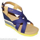 LEVI'S chaussures nu pied talon compensé bleu et jaune femme Levis taille 40