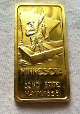 1oz Bar Minnesota .999 troy SILVER # 722 of 1,000 32nd State 1 oz Fine 24K Gold