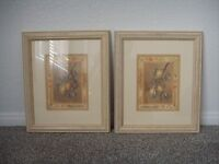 """Set of 2 Fruit Still Life Wall Art Distressed Wood Framed Matted w/ Glass 15"""""""